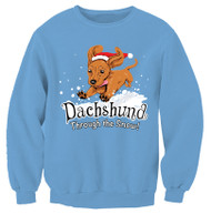 Dachshund Through the Snow Sweatshirt | Columbia Blue | 50% Cotton, 50% Polyester