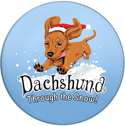 Dachshund Through the Snow Sandstone Ceramic Coaster   Front   Christmas Coaster