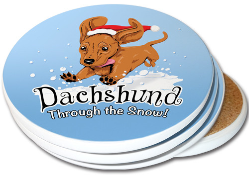 Dachshund Through the Snow Sandstone Ceramic Coasters | 4pack