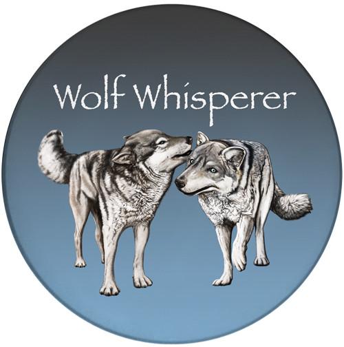 Wolf Whisperer Sandstone Ceramic Coaster | Wolf Coaster | Front