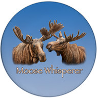 Moose Whisperer Sandstone Ceramic Coaster | Cool Moose Coaster | Front