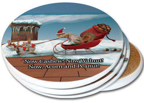 Christmas Sleigh Squirrels Sandstone Ceramic Coaster | 4pack | Christmas Coasters