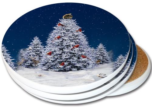 Squirrel Christmas Tree Sandstone Ceramic Coaster | 4pack | Christmas Coasters