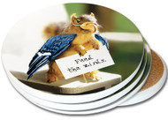 Feed the Birds Sandstone Ceramic Coaster | 4pack | Funny Squirrel