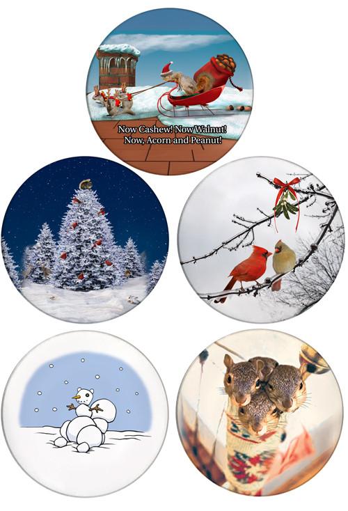 Christmas Sleight Squirrels, Stocking Stuffer Squirrels, Christmas Tree Squirrel, Cardinal Kiss, Snowman Squirrel | 4 pack | Christmas Coaster Set
