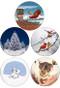 Christmas Sleight Squirrels, Stocking Stuffer Squirrels, Christmas Tree Squirrel, Cardinal Kiss, Snowman Squirrel   4 pack   Christmas Coaster Set