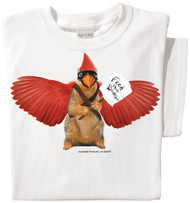 Feed the Cardinal Squirrel | Funny Squirrel T-shirt | White Tee