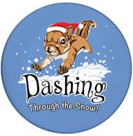 Dashing Through the Snow Squirrel Sandstone Ceramic Coasters  | Front