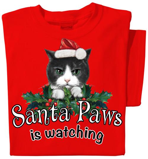 Santa Paws is Watching T-shirt | Christmas Cat tee