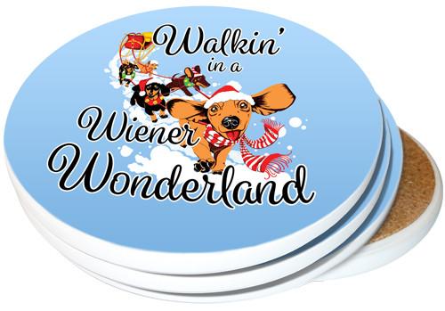 Walkin' in a Wiener Wonderland Dachshund Coasters | 4-pack
