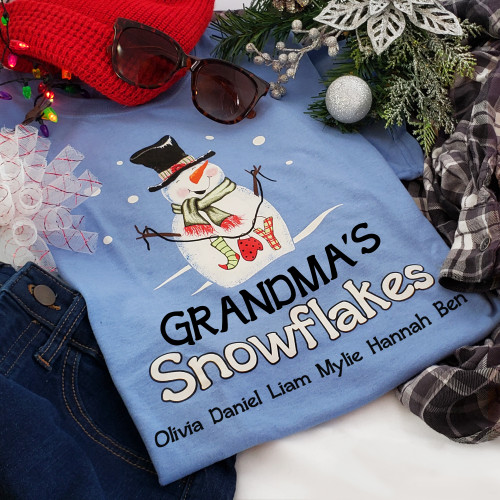 Snowman Blue T-Shirt   Personalized Title and Names