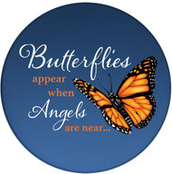 Butterflies appear when Angels are near Sandstone Ceramic Coaster | Memorial Butterfly | Front