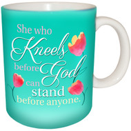 She who kneels before God can stand before anyone Mug | Inspirational Mug