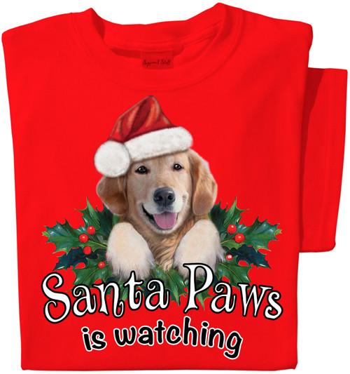 Santa Paws is Watching Dog T-shirt | Holiday Tee
