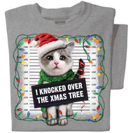 I knocked over the xmas tree T-shirt | Funny Cat T-shirt