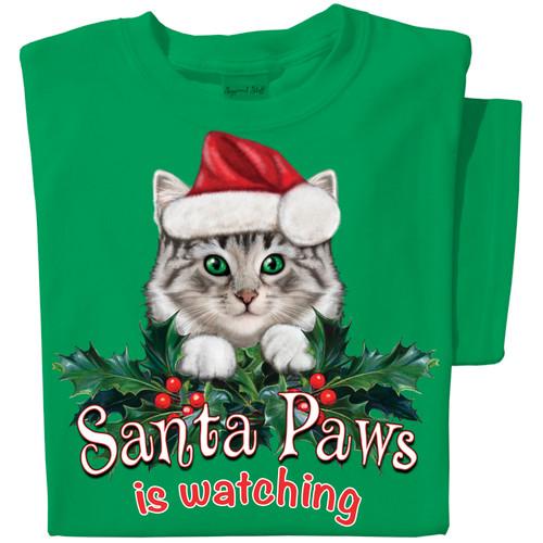 Santa Paws Cat T-shirt | Funny Christmas Cat T-shirt