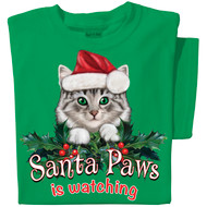 Santa Paws Cat T-shirt | Funny Christmas Cat T-shirt