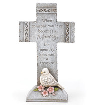"Sympathy Cross with Dove: ""When someone you love becomes a memory..."""