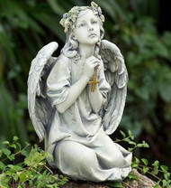 Praying Garden Angel with Cross