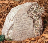 Celtic Cross Garden Stone with Irish Blessing: May the road rise to meet you...