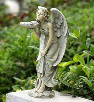 Garden Angel with Sea Shell Bird Feeder