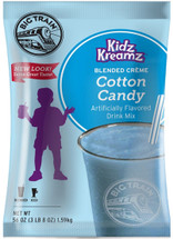 Enjoy the delicious taste of cotton candy in this caffeine-free, coffee-free blended crème mix from Big Train. Kidz Kreamz blended crèmes contain the sweet flavors that kids crave, with only 3 grams of fat per 8 oz serving. Of course, it's not just for children, it's also perfect for grown-ups who don't want coffee. Enjoy as a sweet iced drink or a thick, blended frappe. The bulk 3.5 lb bag is perfect for the consistent Big Train drinker and it keeps for months if kept in an airtight container. Treat yourself at home, or serve it in your restaurant or coffee shop. Each 3.5 lb. bag prepares 40 drinks of 8 oz. each.