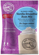 Enjoy the sweet flavor of our classic Vanilla Smoothie Base Mix and take smoothies to the next level - without added sugar! Big Trains No Sugar Added (NSA) Vanilla Smoothie Mix is perfect for people who are watching their sugar intake. Versatile vanilla goes with everything, simply add real fruit, sugar-free syrup, or get creative and add your favorite cereal! Caffeine-free No hydrogenated oils or trans fats Kosher-Dairy certified