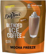 Rich chocolate gets an ultra-creamy caffeinated kick in DaVinci Gourmet's Mocha Freeze Ice Coffee Mix. Our super-smooth Mocha Freeze blended ice coffee mix whips up refreshing chocolaty taste with thick, creamy texture inspired by an ice cream shop favorite. We source the highest-quality ingredients and carefully blend them for incredible flavor and an unforgettable taste experience with a balance of chocolate and coffee. Our decadent Mocha Freeze Blended Ice Coffee mix combines a heavenly dose of dark Dutched cocoa and full-bodied Arabica coffee for a caffeinated drink with chocolaty taste. We sweeten our delectable mix with real sugar and smooth it out with a blend of high-quality ingredients that deliver creamy,