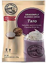 Taste the tropics with Big Train's Dragonfly Taro Blended Creme Frappe Mix! Our taro-flavored mix is made from the finest ingredients for a gourmet taste experience that will take your taste buds on a tropical retreat with every sip. Delicate and nutty taro flavor stars in our delicious drink mix. For an indulgent creamy finish, top with a dollop of whipped cream. Serve hot, iced, or blended.