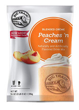 Big Train Peaches N Cream Blended Crème Frappe Mix takes the taste of ripe, peak-season peaches and soft sweet cream in a refreshing take on a warm-weather classic. Enjoy this peaches and cream flavored mix on its own, or indulge dessert cravings and top with whipped cream. This blended crème mix is infused with real peaches and other natural flavors to create a fruity treat.