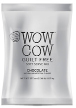 Big Train's Wow Cow Guilt Free Chocolate soft serve mix is the ideal base to help you make delicious low carb sugar free chocolate frozen treats. With only 12 calories per fl oz, only 5g net carbs (based on a 4 fl oz serving), and no sugar added, your customers will love this delicious lower calorie alternative to ice cream. Wow Cow Chocolate soft serve is a dry base mix, providing 33 1/3 percent fewer calories (45 calories per serving) than our regular Wow Cow soft serve products (60 calories per serving). Add flavoring syrups to make virtually unlimited cocoa inspired menu items. Imagine Frozen Orange Cocoa or Chocolate Peanut Butter soft serve. The options are endless.