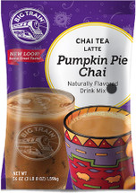 Pumpkin pie and chai spices pair up deliciously in Big Train's Pumpkin Pie Chai Tea Latte Mix! Taste a holiday favorite with our East meets West fusion of a seasonal treat and exotic taste from India. Real pumpkin stars in our delicious mix for authentic autumn experience. We craft our invigorating signature chai with black and Darjeeling teas to revive the senses, then we add allspice and nutmeg to our authentic Masala blend for true pumpkin pie flavor. Serve hot, iced, or blended.