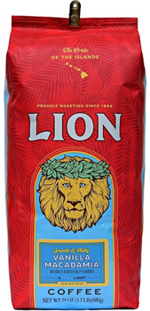 A classic Lion tropical flavored coffee. Lightly roasted coffee beans flavored with the distinctive aromas and tastes of Vanilla Beans and Macadamia Nuts. The brewed coffee has a rich smooth taste with Vanilla flavor notes predominate and with more subtle Macadamia Nut background flavor notes. One of our top selling flavored coffees. Roast:Light Medium Roast
