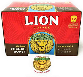 From Hawaii, land of volcanoes and lava flows, comes LION French Roast Coffee. This French Roast is intense. Full-bodied. It has a delicious dark roast finish. But do know this… this is a bold, snappy and aggressive French Roast for those who like their coffee with attitude! Now available in a single serve cup.Enjoy the flawless smooth taste and finish that you trust LION Coffee to provide.
