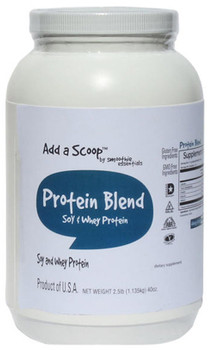 """Add a Scoop Protein Blend – Soy Protein Isolate, Whey Protein Concentrate, Inulin – – """"Excellent"""" Source of protein which helps build and repair body tissues. 160 servings per 2.5-pound canister."""
