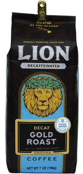 LION Gold Coffee is a classic light roast coffee and makes a great breakfast coffee. And while the regular LION Gold has a hefty caffeine kick, the decaffeinated version gives you all the flavor burst, without the caffeine. It's bright in the cup, with a mellow taste and a sweet and slightly citrus finish. Decaffeinated using the Swiss Water Process®, which uses pure fresh water and zero harsh chemicals - never compromising the quality of our beans so you can enjoy the taste of Aloha, without the caffeine!