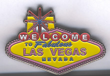 Las Vegas Welcome Sign Pink Yellow Magnet