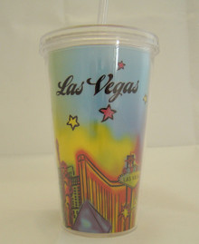Las Vegas Sign Neon Plastic Cold Cup With Lid