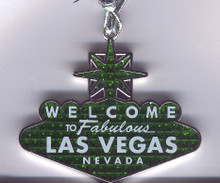 Welcome To Las Vegas Sign Hanging Christmas Tree Ornament Green Glitter
