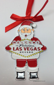 Welcome To Las Vegas Sign Christmas Tree Santa Holiday Hanging Ornament
