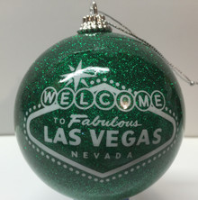 Las Vegas Welcome Sign Green Glitter Ornament