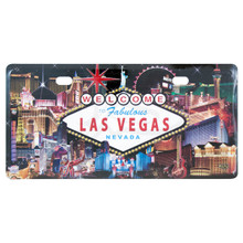 Las Vegas Sign Hotel Collage License Plate