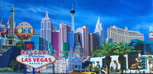 Las Vegas Sign Hotels Framed Canvas Wall Art Print