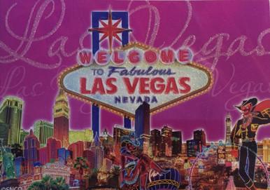 Las Vegas Sign Pink Glitter Postcard
