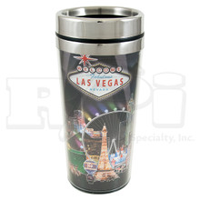 Las Vegas Sign Hotels Stainless Steel Black Foil Travel Cup