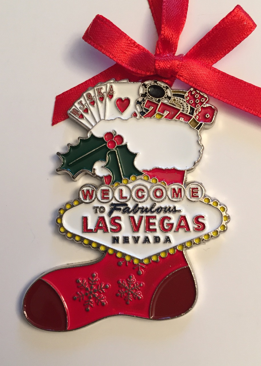 Las Vegas Sign Strip Hotels Christmas Tree Holiday Hanging Ornament Santa Sleigh