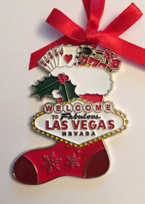 Las Vegas Sign Red Stocking Christmas Tree Holiday Hanging Ornament