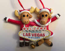 Las Vegas Sign Reindeer Holiday Ornament