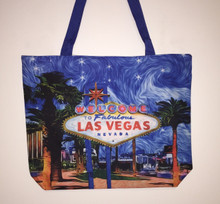 Las Vegas Sign Palm Tree Blue Tote Bag