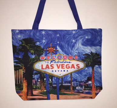 Las Vegas Sign Palm Tree Blue Tote Bag